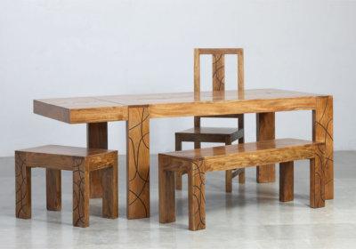 Table à Manger Rectangulaire + 6 Chaises Tahiti ( 2 Allonges à l'Italienne) Les Meubles en Bois de Manguier reunion pas cher