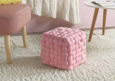 Pouf Deco Cube Braid Le Coin des Bonnes Affaires reunion pas cher