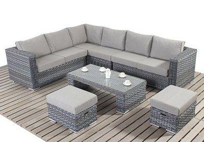 Salon d'Angle Jardin + Table + 2 Poufs Les Jardins & Terrasses reunion pas cher