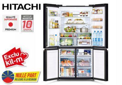 Réfrigérateur Combiné 4 Portes 638L Hitachi (RWB640VRU0) Exclus Kit-M & Nulle Part Ailleurs ! reunion pas cher